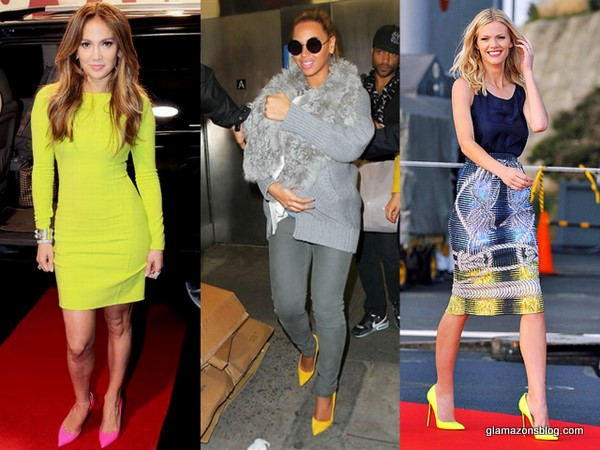 how-to-wear-bright-pumps-beyonce-fur-blue-ivy-yellow-pumps-brooklyn-decker-battleship-peter-pilotto-jennifer-lopez-brazil-q-viva-neon-michael-kors-pink-casadei-glamazons-blog