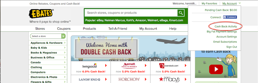 Cash Back Activity Ebates