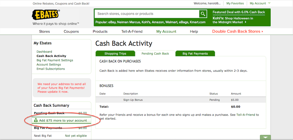 Add More to you account Ebates