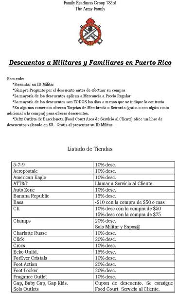 Descuentos para militares y familiares directos en puerto rico la shoppinista - Como llamar a puerto rico ...