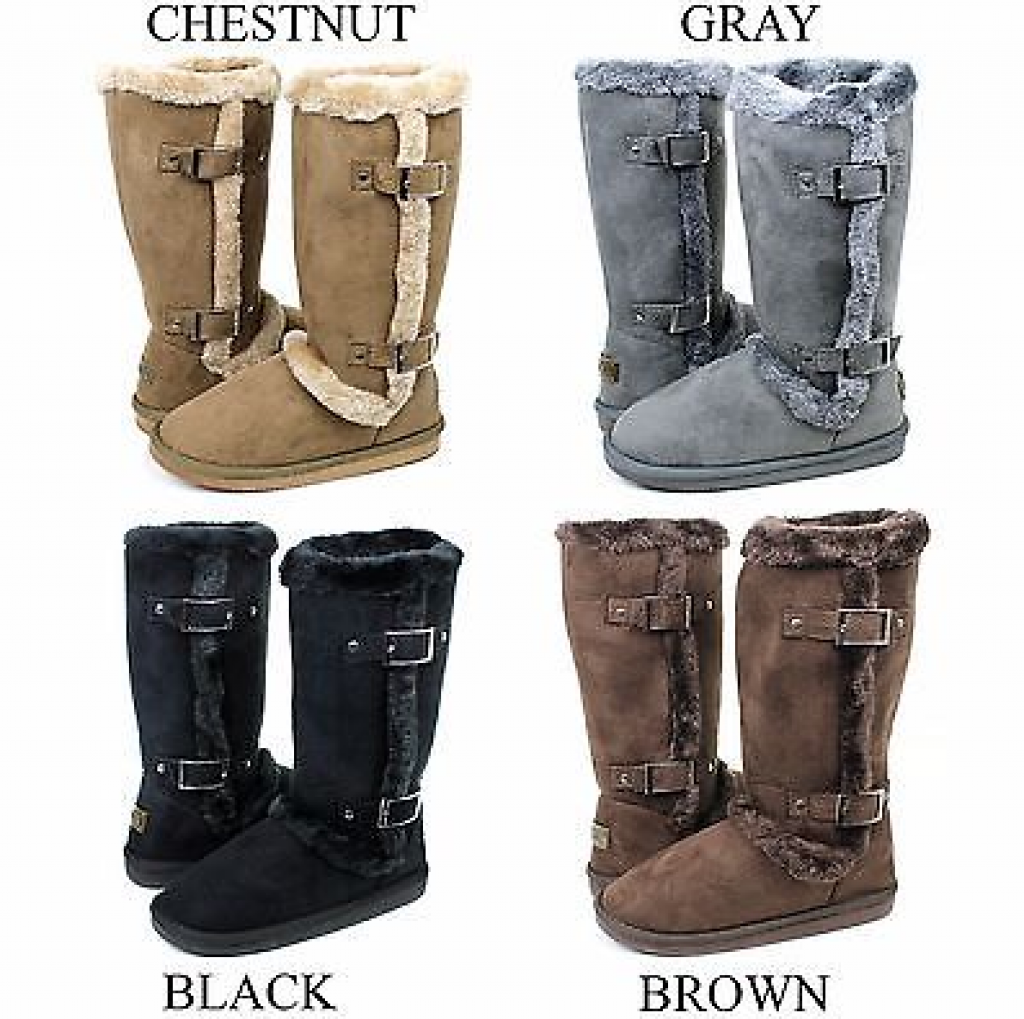 Womens Mid Calf Twin Buckle Winter Snow Fur Faux Suede Fashion Boots
