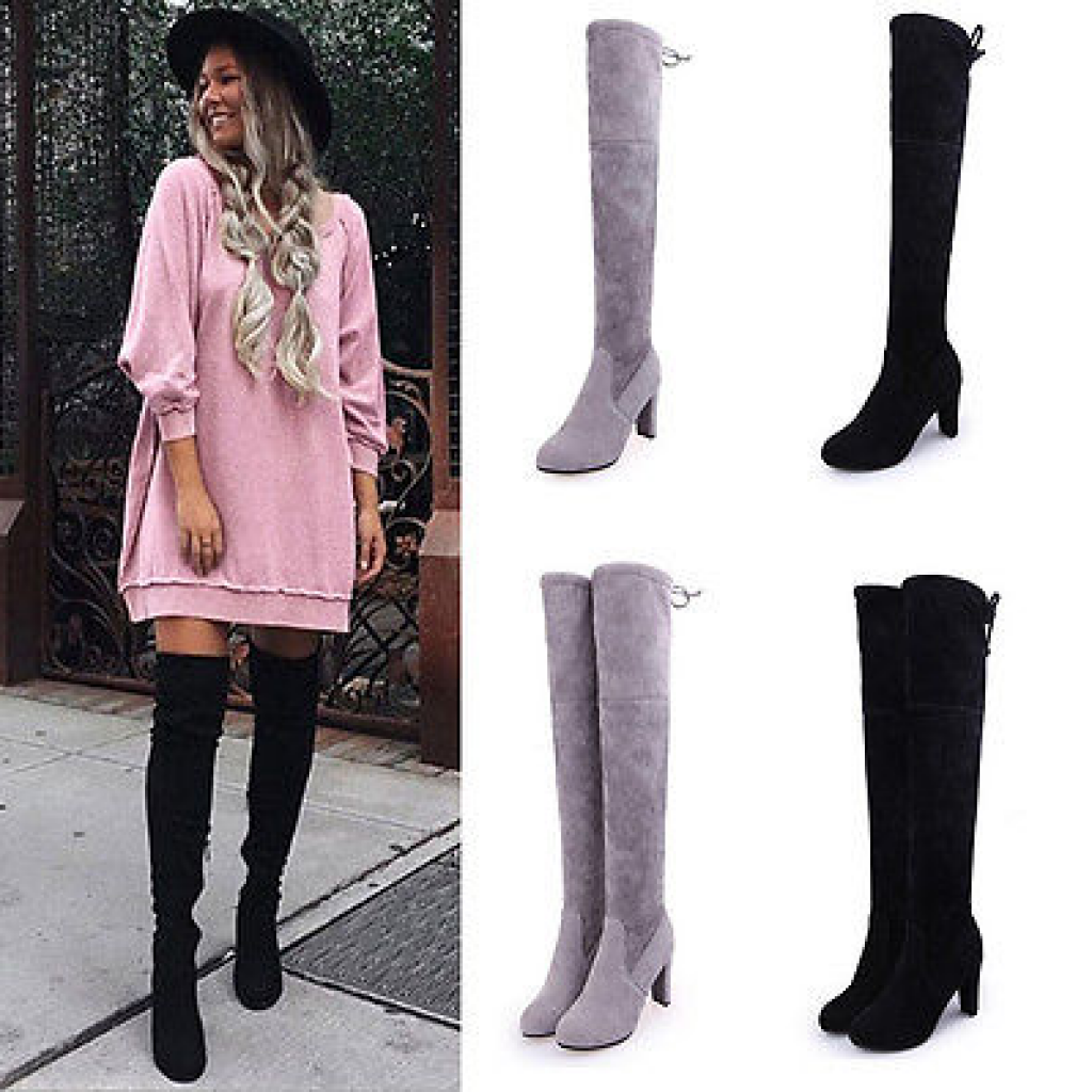 Womens Ladies Suede Over The Knee Boots Shoes Block High Heel Lace Thigh Boots