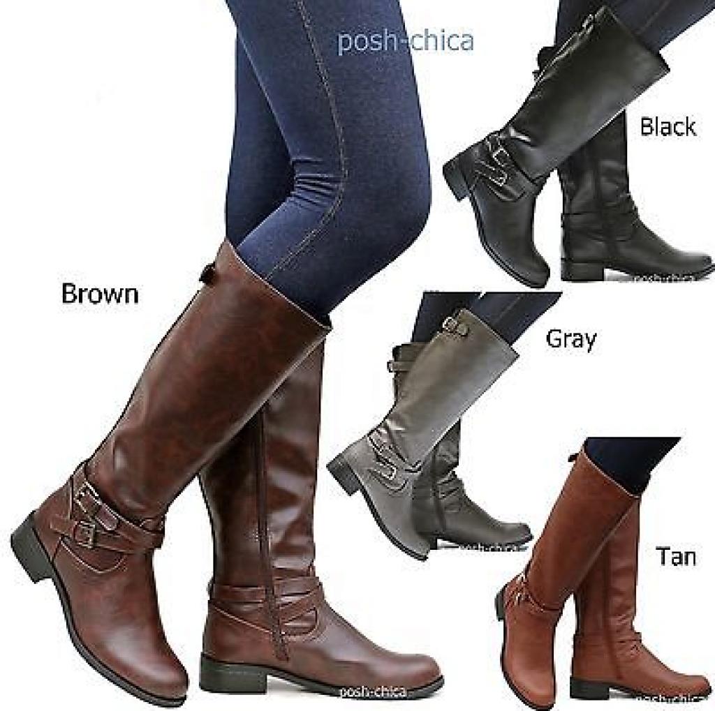 Women SBio Tan Black Gray Brown Buckle Riding Knee High Boots