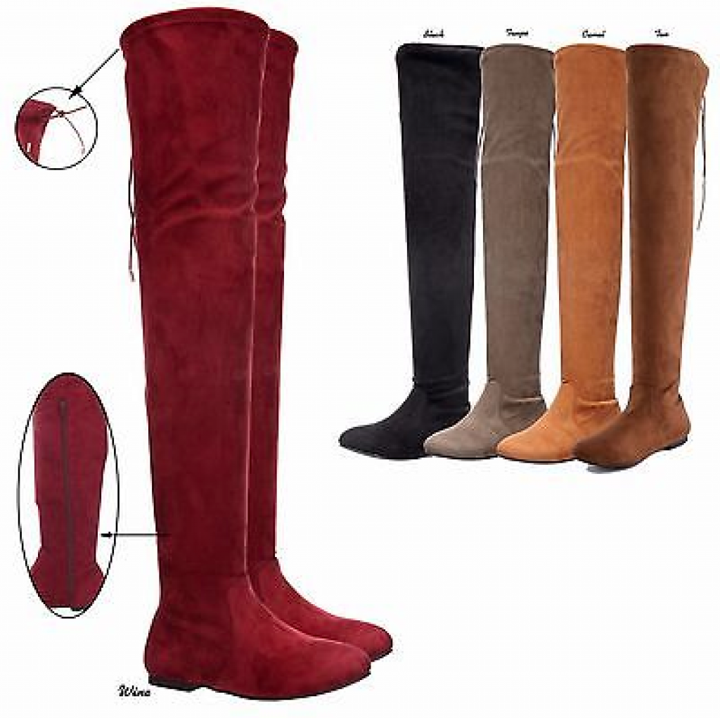 Women Stretchy Over The Knee Thigh High Drawstring Tie Flat Heel Boots