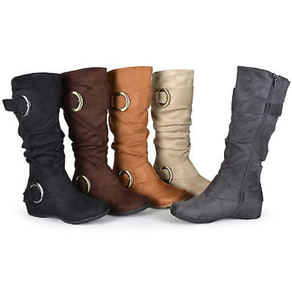 Journee Collection Womens Wide and Extra Wide Calf Slouch Buckle Knee High Boots