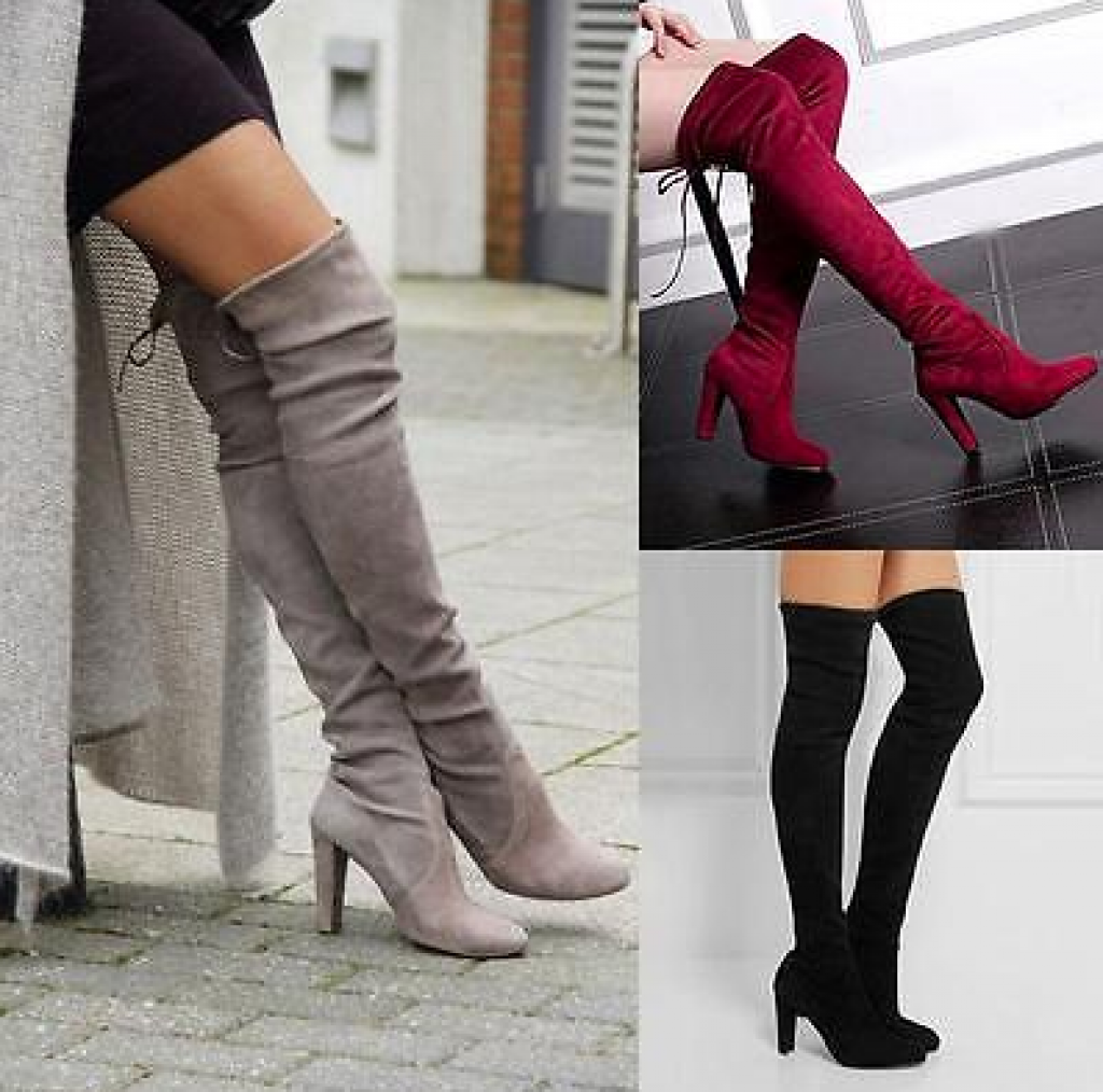 Over Knee Shoes High Heel Winter Autumn Slip on Leisure Lace up Women Boots