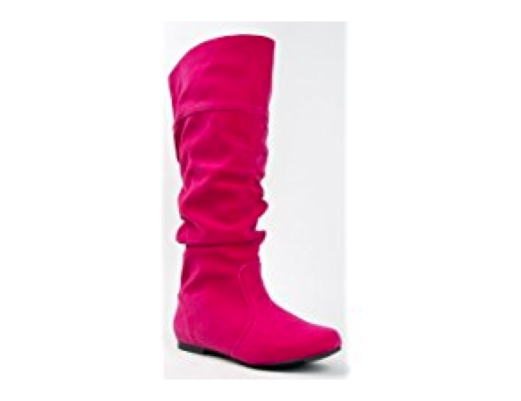 Qupid NEO-144 Classic Basic Casual Slouchy Flat Knee High Boot,Neo-144 Fuchsia Velvet 5.5