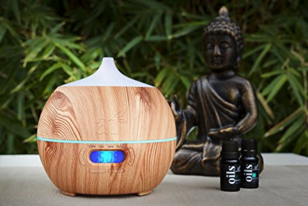 ArtNaturals Essential Oil Diffuser and Humidifier with Bluetooth Speaker Clock and Alarm - Electric Cool Mist Aromatherapy for.
