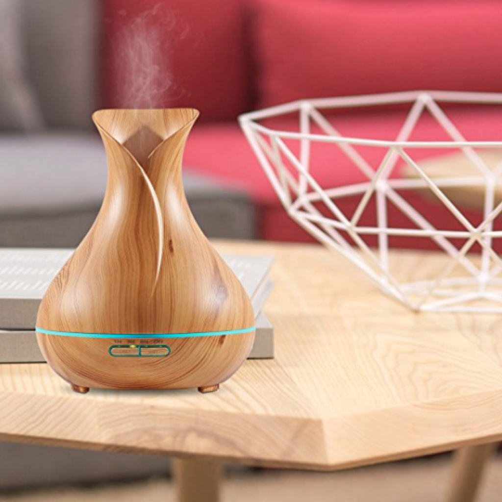 NexGadget 400ml BPA Free Ultrasonic Wood Grain Aromatherapy Essential Oil Diffuser