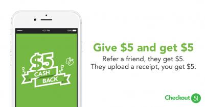 $5 en Cashback con Checkout 51