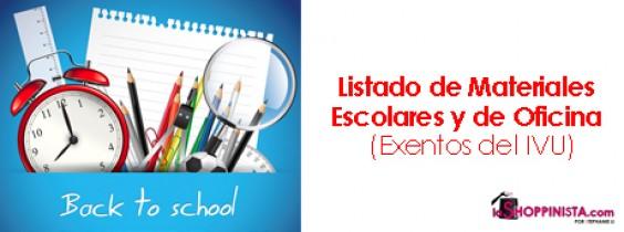 Listado de Materiales Escolares y de Oficina, Exentos de IVU – Días Sin IVU en Articulos Escolares