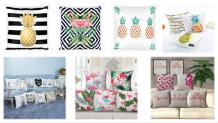 Cojines tropicales de verano: piña, flamingo, palmas y más