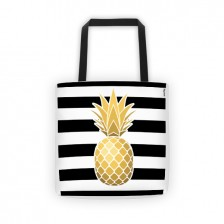 Black stripes, golden pineapple fever tote bag