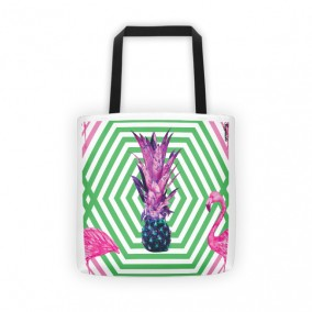 Flamingo Pineapple Fever Tote Bag