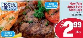Compra Inteligentemente con los Especiales Shoppinistas: New York Steak Strip Loin Fresco a $2.99 lb.