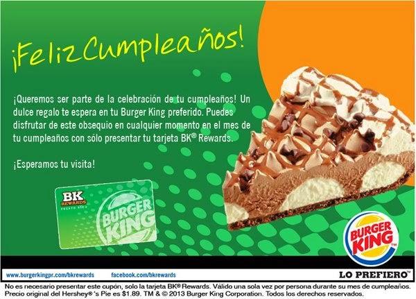 Regalos Gratis Para Cumpleaños en Puerto Rico- Hershey Pie Gratis en Burger King