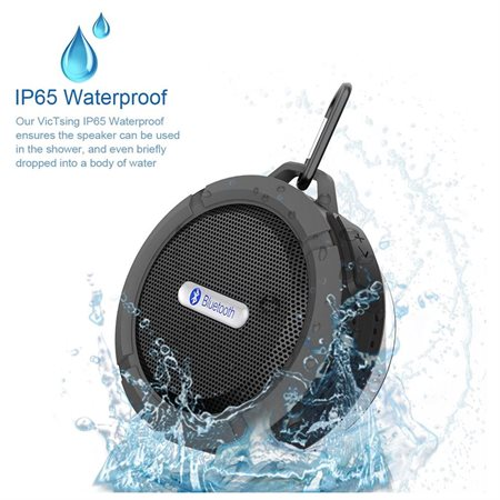 VicTsing Shower Speaker, Wireless Waterproof Speaker with 5W Drive, Suction Cup, Buit-in Mic, Hands-Free Speakerphone