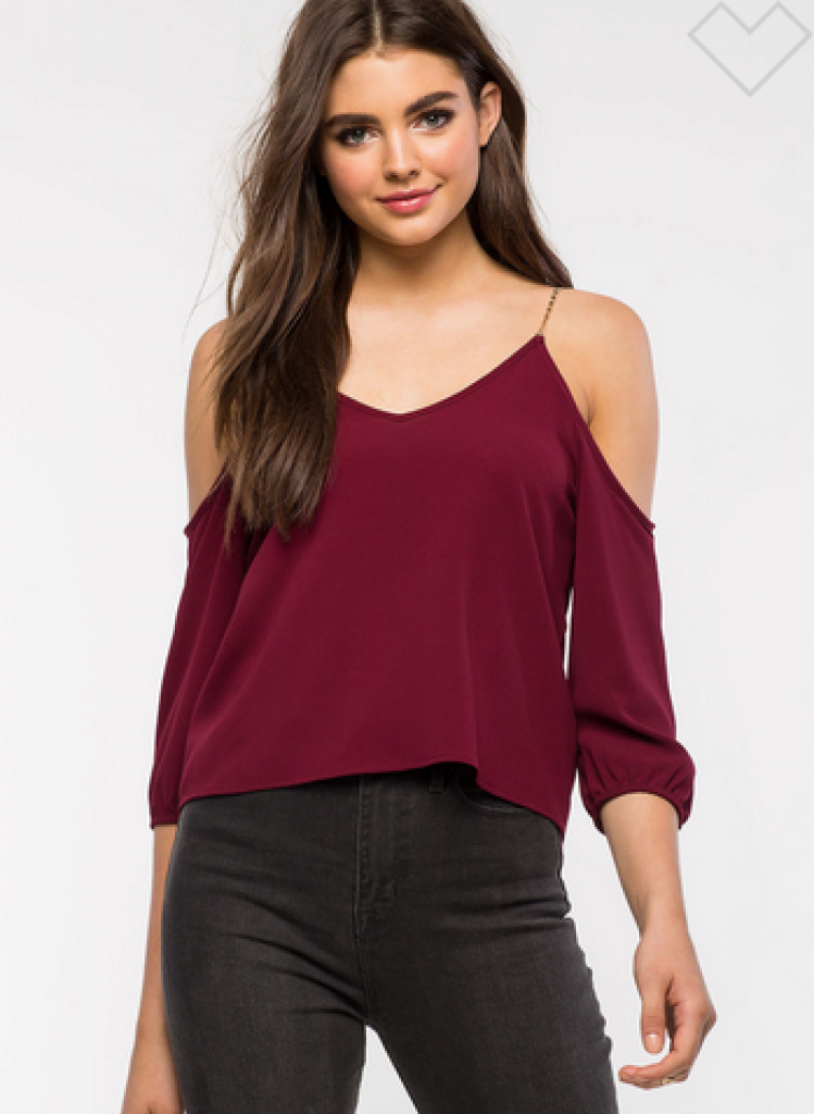 Chain Out Cold Shoulder Top