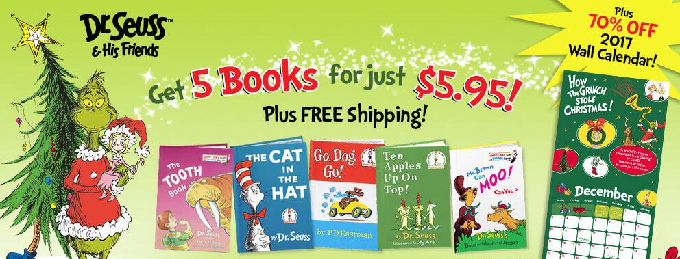 Dr. Seuss – 5 Books for $5.95 & Freebies