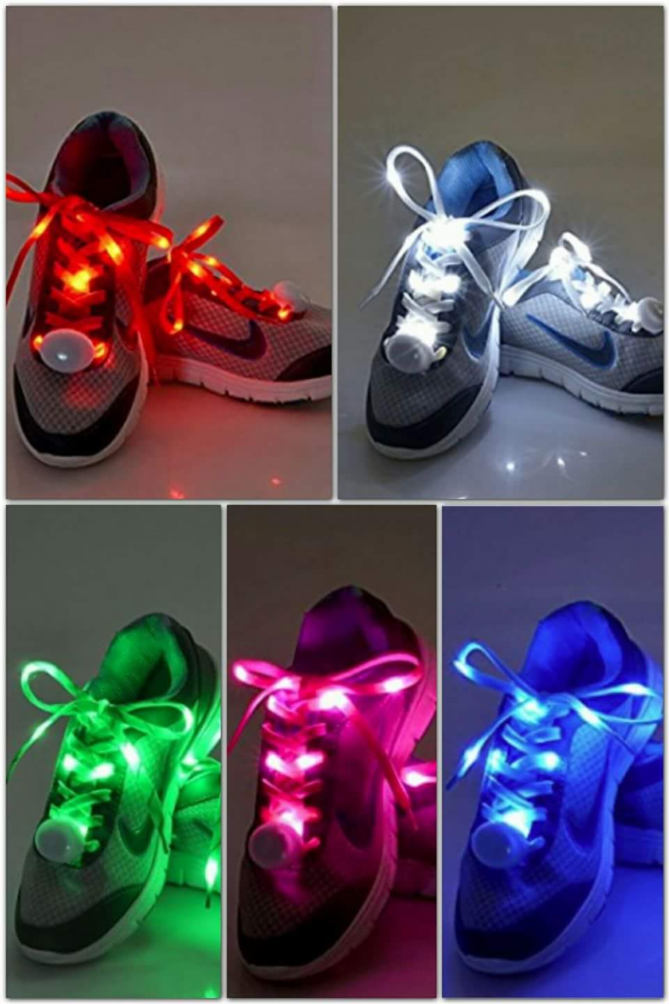 Flammi LED Nylon Shoelaces Light Up Shoe Laces with 3 Modes in 5 Colors Disco Flash Lighting the Night for Party Hip-hop Dancing Cycling Hiking Skating