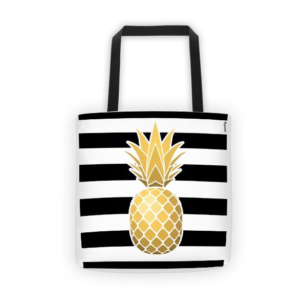 Black stripes, golden pineapple fever tote bag
